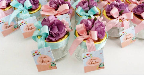 Colourful Personalised Mini Glass Jar Favours Decorated (Pack of 10) - Emerald Occasions