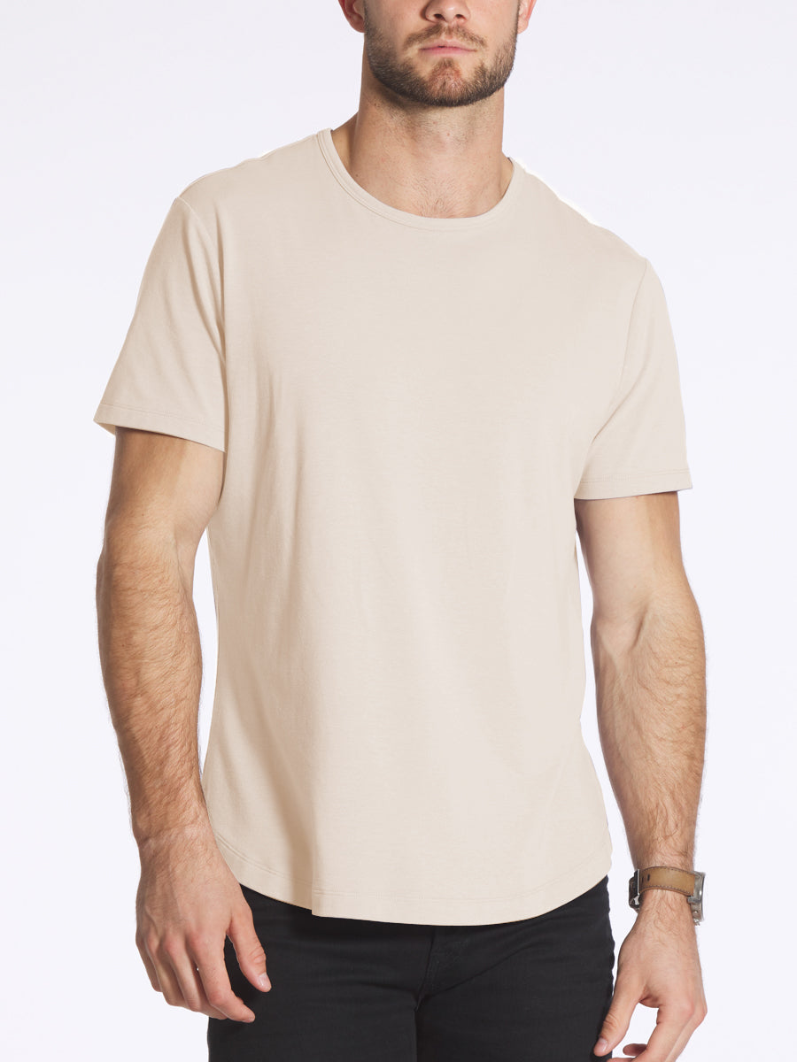 White S/S Henley Elongated