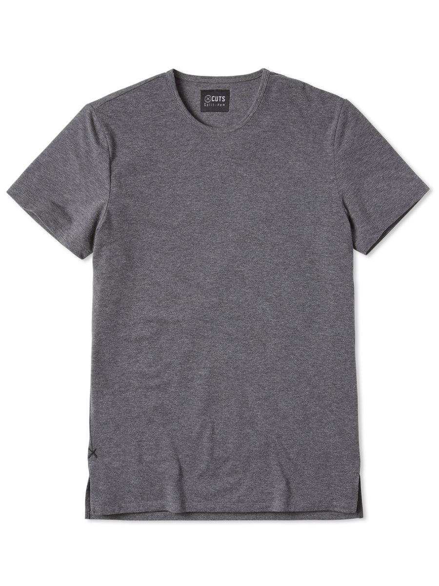 Heather Grey Crew Split-Hem