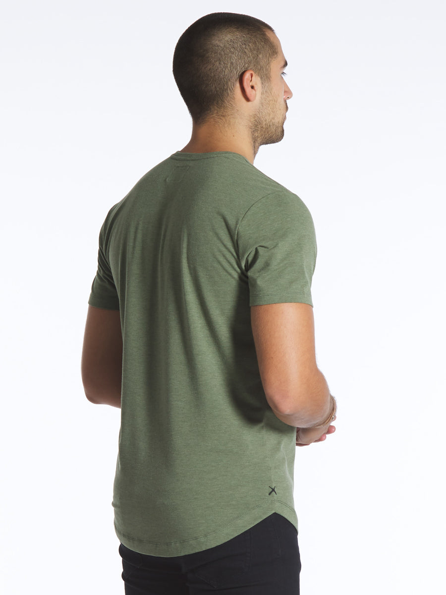 Heather Green V-Neck Curve-Hem