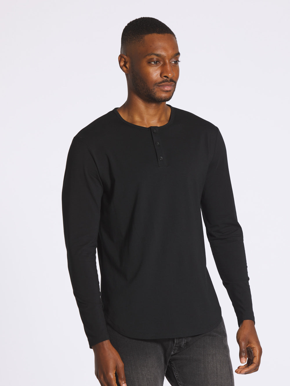Black L/S Henley Elongated