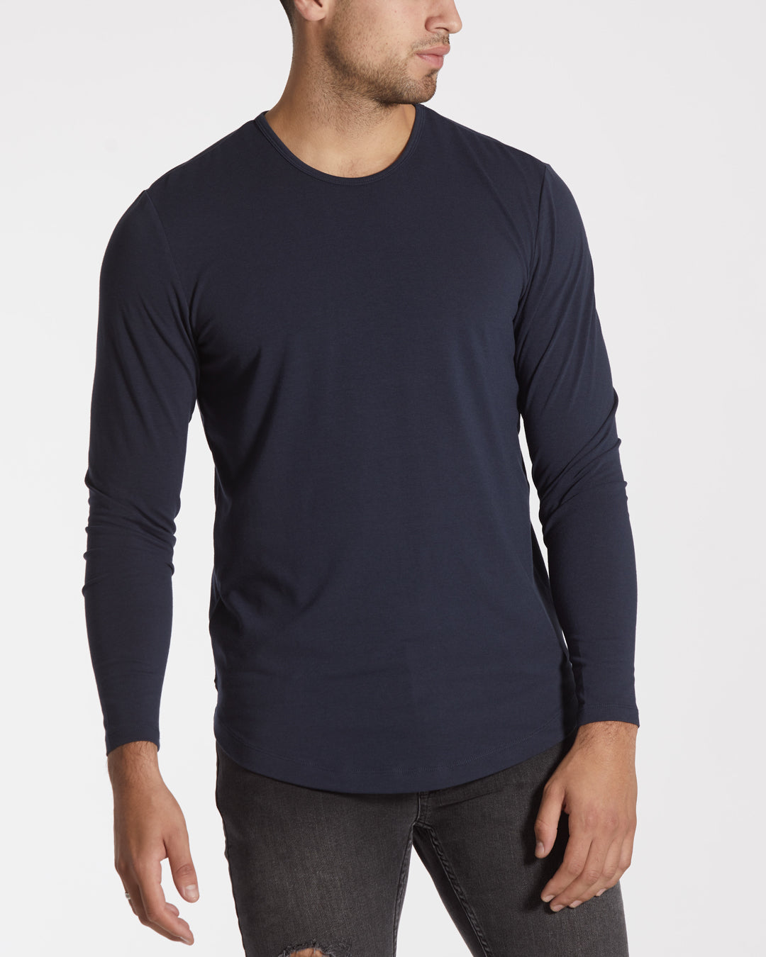 Blue Night L/S Crew Curve-Hem
