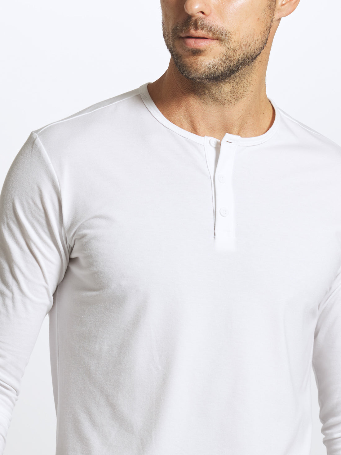 White L/S Henley Elongated