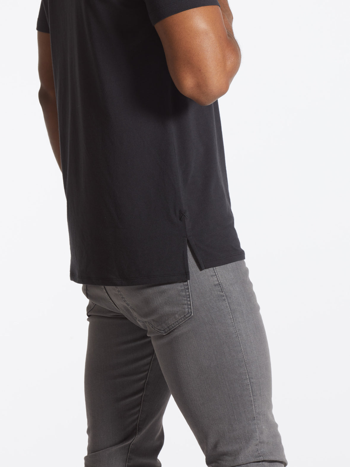 Black V-Neck Split-Hem