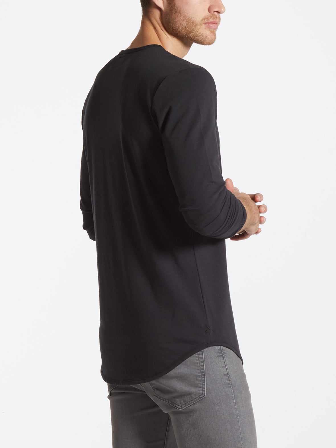 Black L/S Crew Elongated