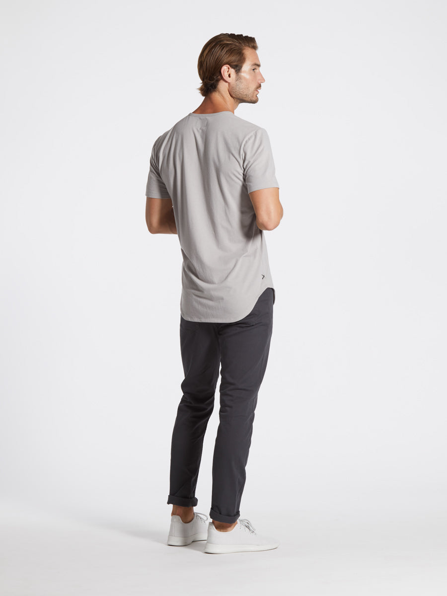 Stone Grey S/S Henley Elongated