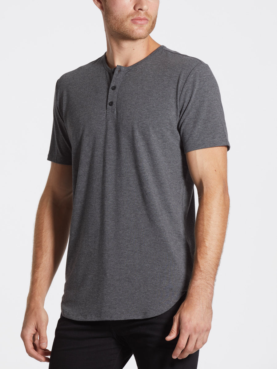 Heather Grey S/S Henley Elongated