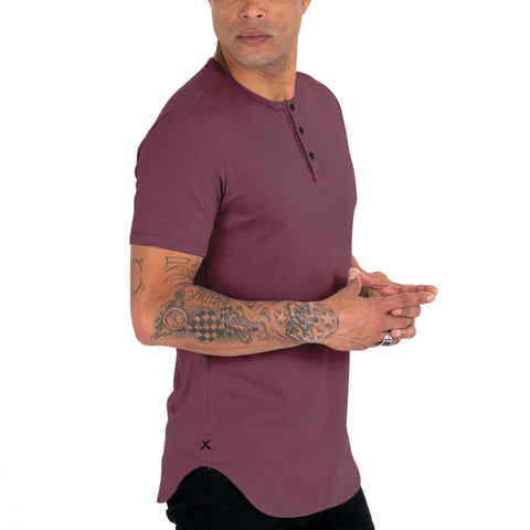 Plum S/S Henley Elongated