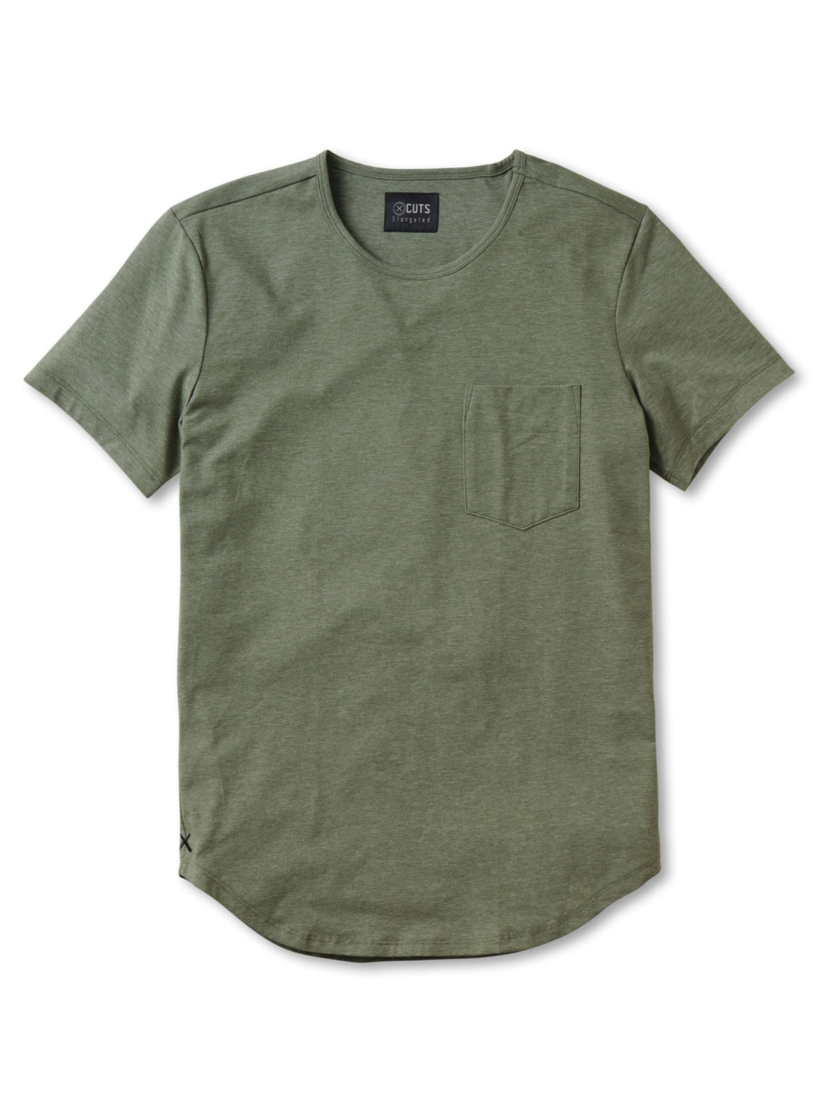 Heather Green Wide Neck Pocket Elongated