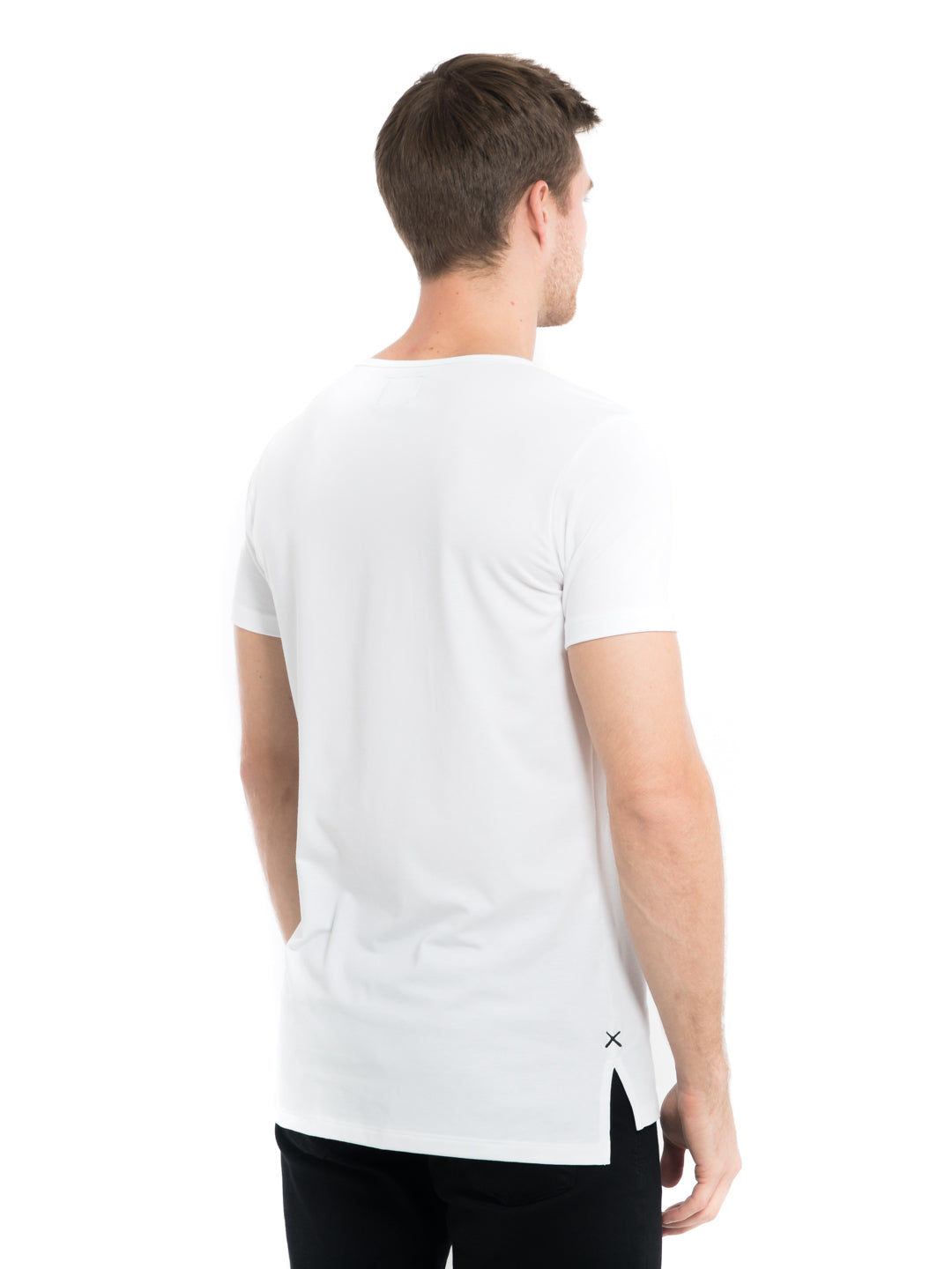 White Wide Neck Pocket Split-Hem