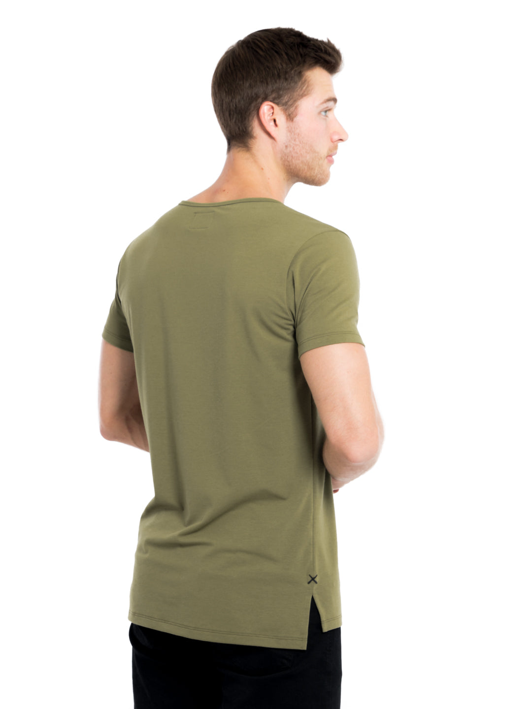 Martini Olive Wide Neck Pocket Split-Hem