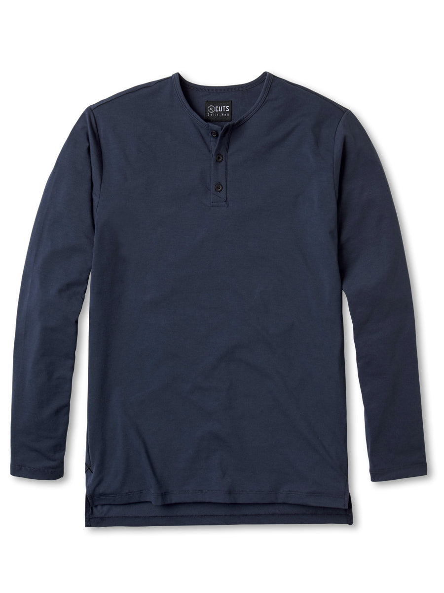 Blue Night L/S Henley Split-Hem