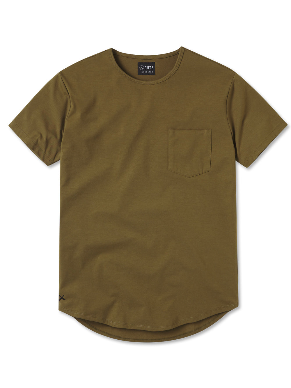 Military Moss Pocket Crew Elongated