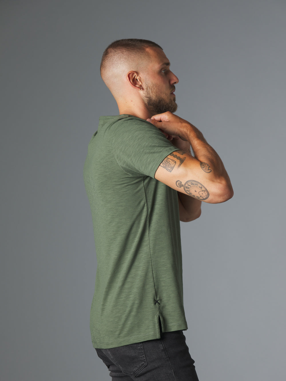 Slub Fig Leaf Crew Split-Hem