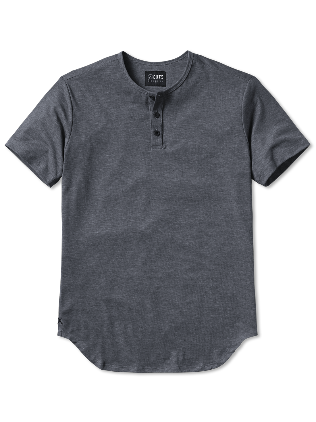 Grey S/S Henley Elongated