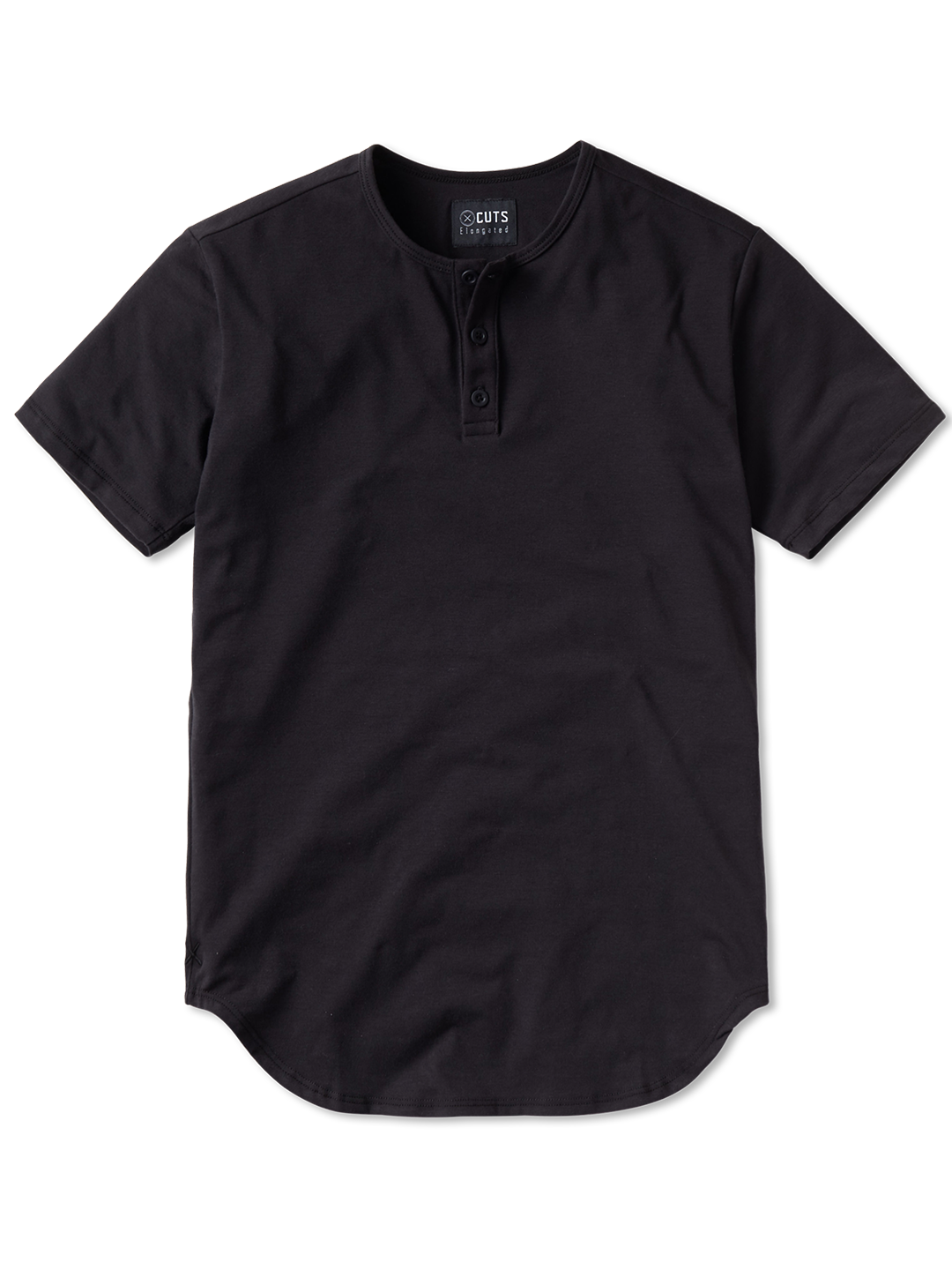 Black S/S Henley Elongated