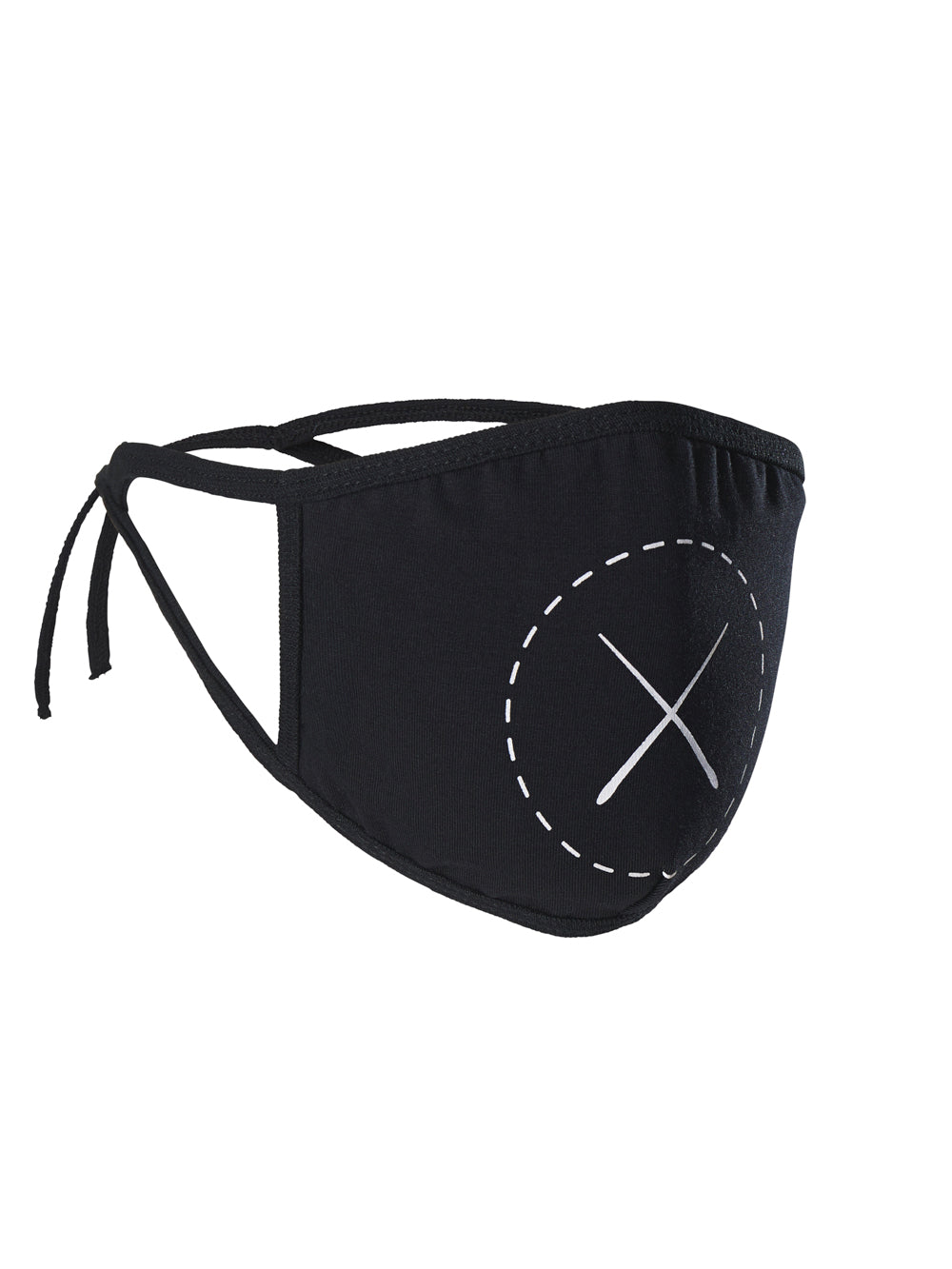 Black Logo Tie-Cord Face Mask