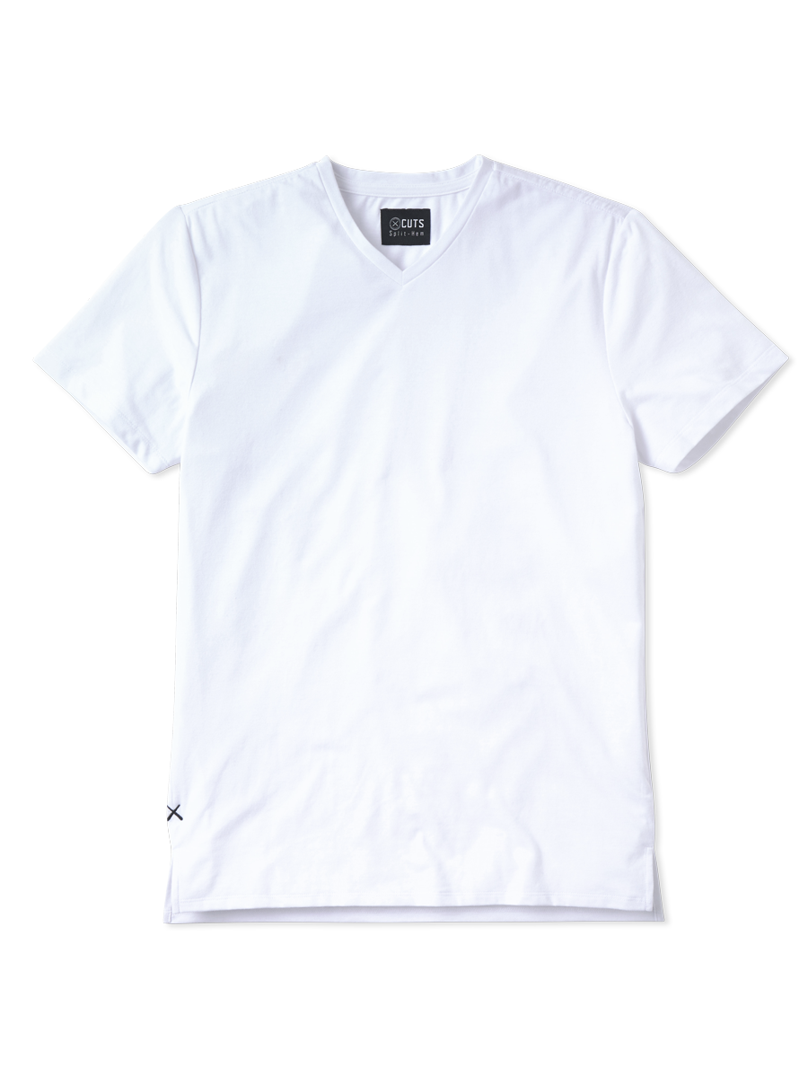 White V-Neck Split-Hem