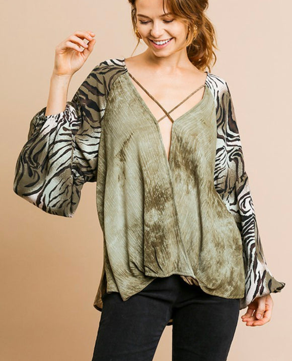 Safari Olive Blouse