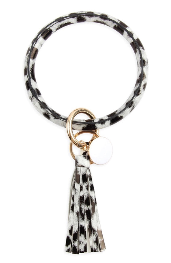Animal Print Tassel Key Ring