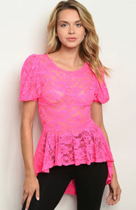Natalie Neon Lace Top