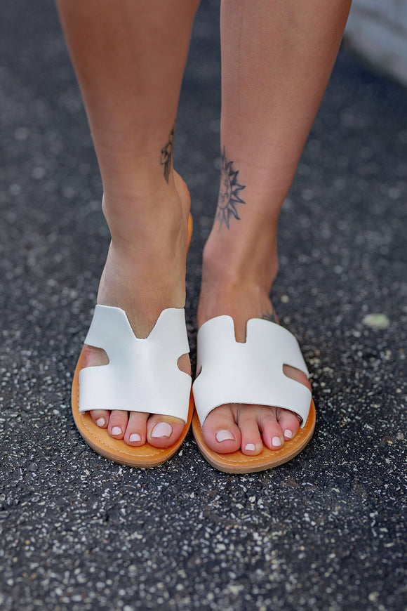 White Cut-out Sandal