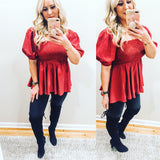 Ruby Red Babydoll Blouse