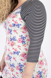 Ivory Striped Floral Baseball Tee