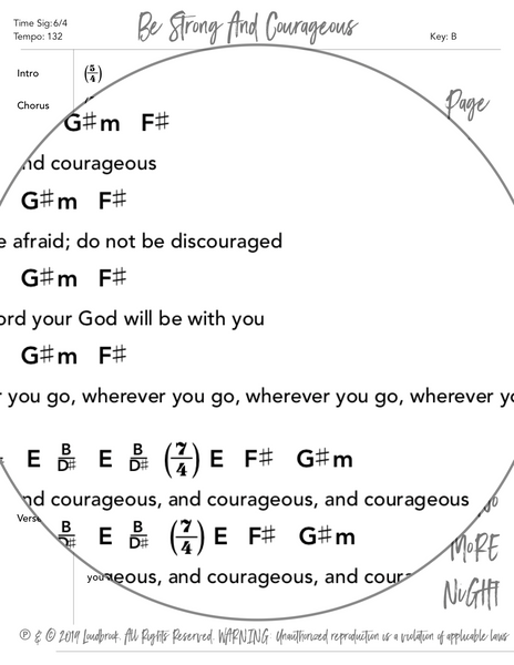 Be Strong And Courageous Chord Chart by Loudbrook