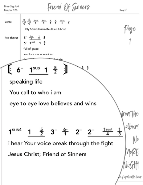 Friend Of Sinners Nashville Number Chart by Loudbrook