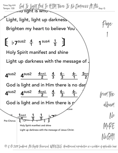 God Is Light And In HIM There Is No Darkness At All Nashville Number Chart by Loudbrook