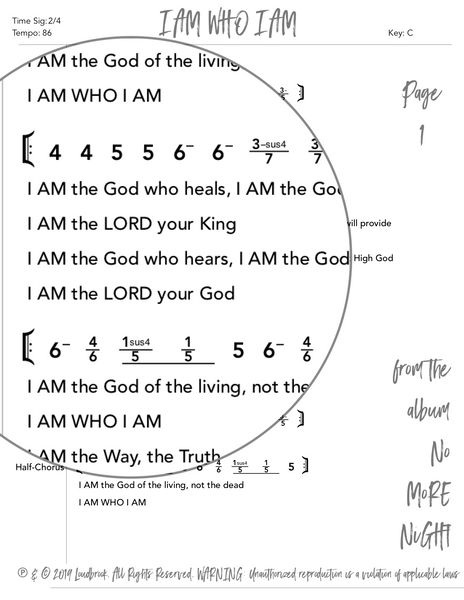 I AM WHO I AM Nashville Number Chart by Loudbrook