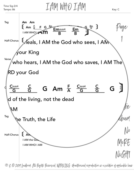 I AM WHO I AM Chord Chart by Loudbrook