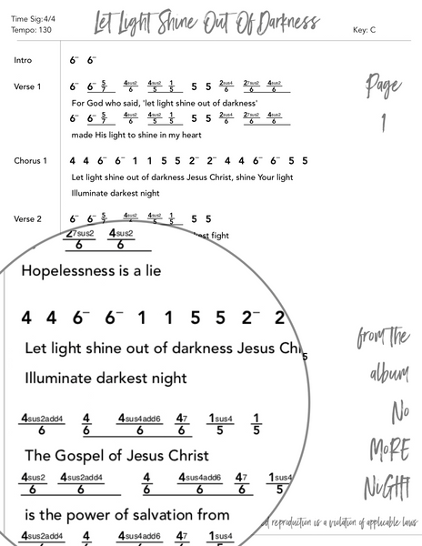Let Light Shine Out Of Darkness Nashville Number Chart by Loudbrook