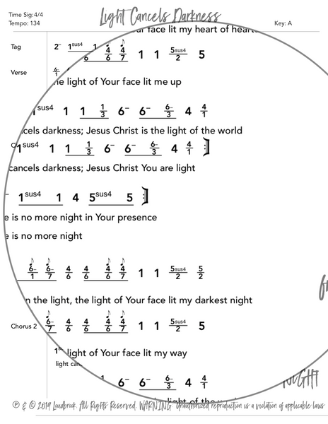 Light Cancels Darkness Nashville Number Chart by Loudbrook