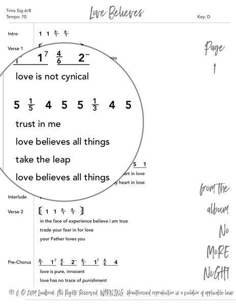 Love Believes Nashville Number Chart by Loudbrook