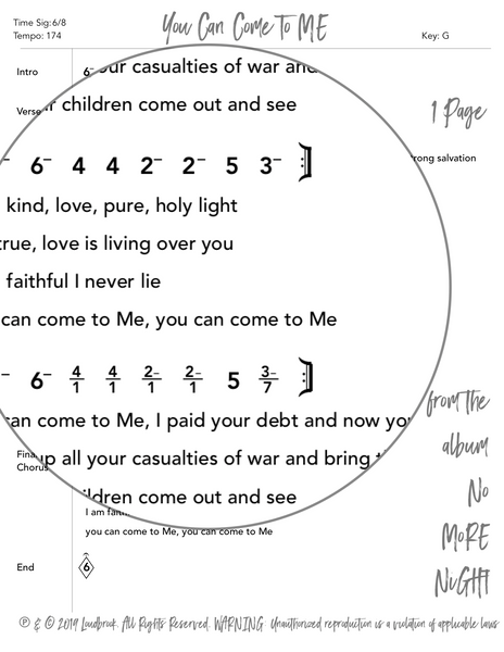 You Can Come To ME Nashville Number Chart by Loudbrook