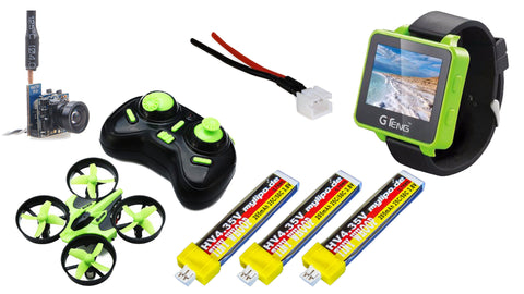 *Summer Sale* BASIC DIY FPV Starter Bundle Eachine E010  (incl. 3x MyLipo 205mAh HV batteries, VMT275t Micro FPV camera, Powerwhoop pigtail and GTeng FPV Wrist Monitor)