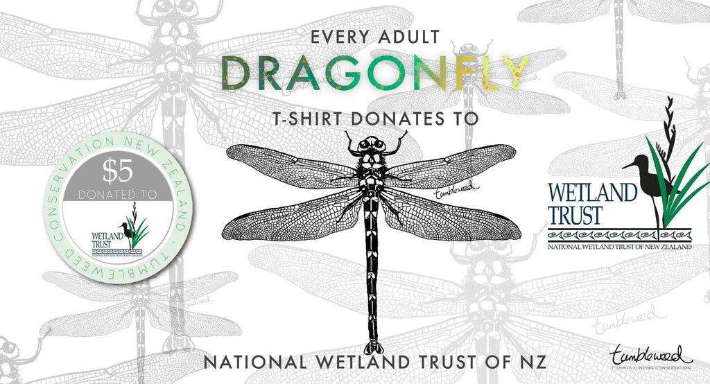 Dragonfly and wetland conservation NZ   Tumbleweed Tees