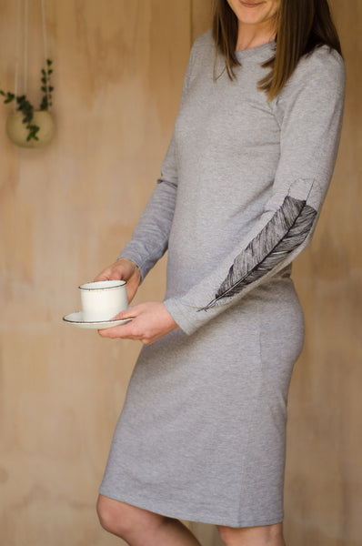 Huia Feather Organic Cotton Long Sleeved Dress