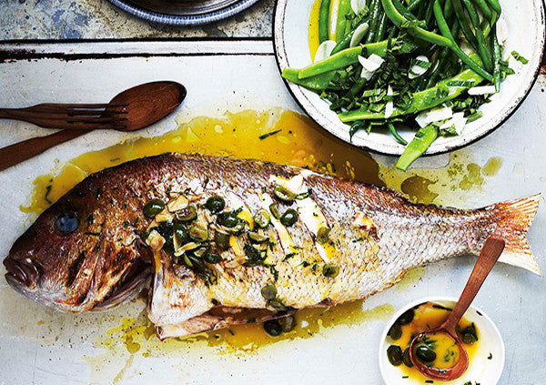 Snapper with White Wine, Green Olives and Parsley