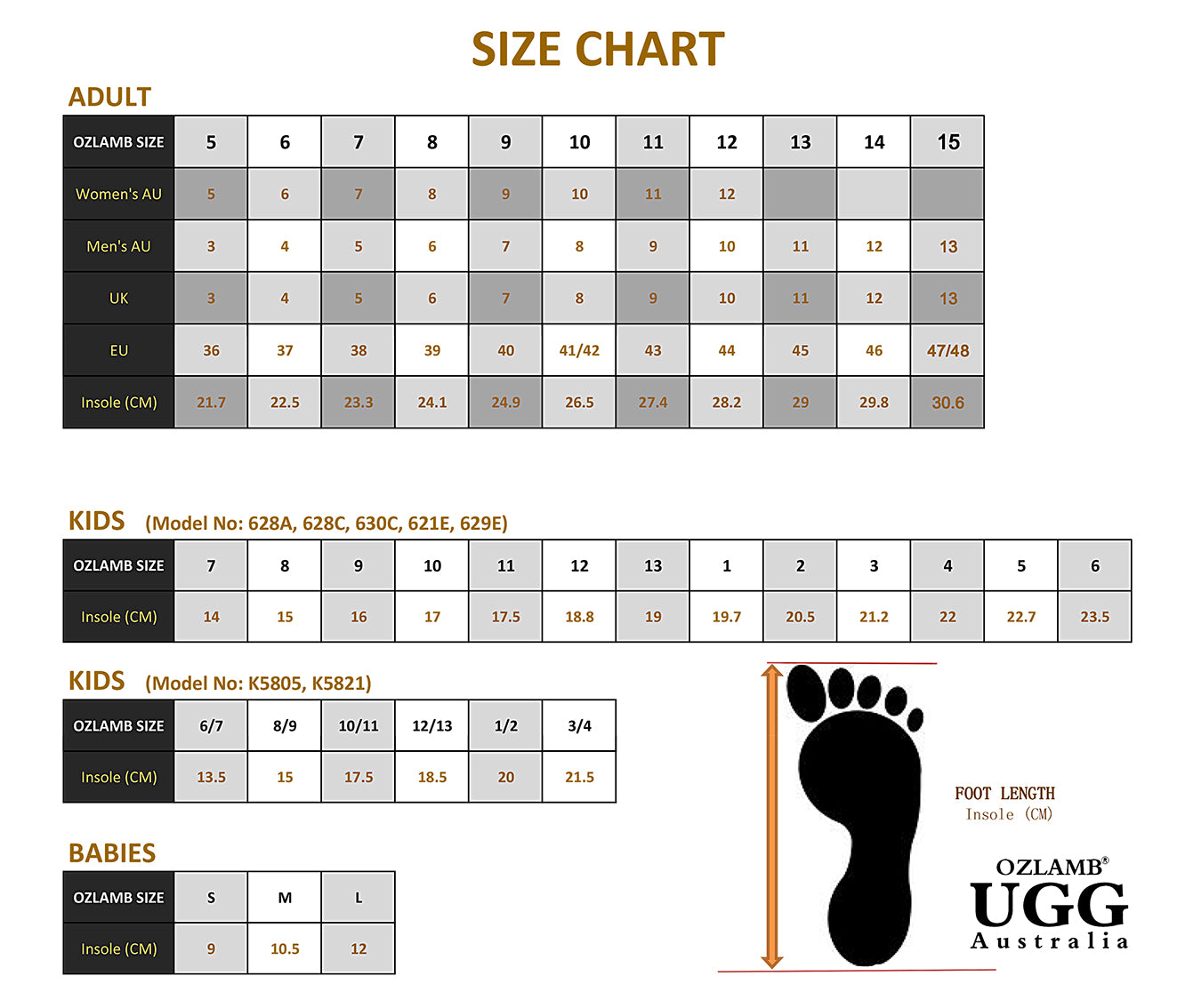 uggs size chart conversion