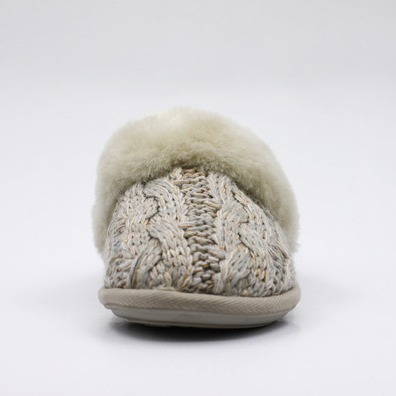 Luxury Bloombury Knit Wool Scuff - Sand