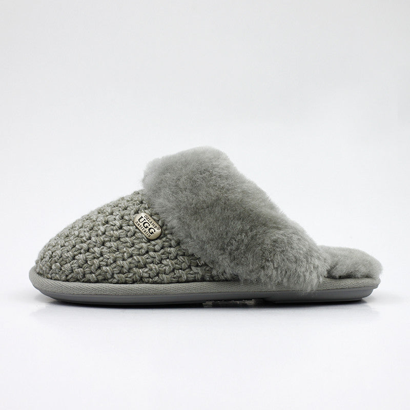 Luxury Knit Wool Scuff - Grey