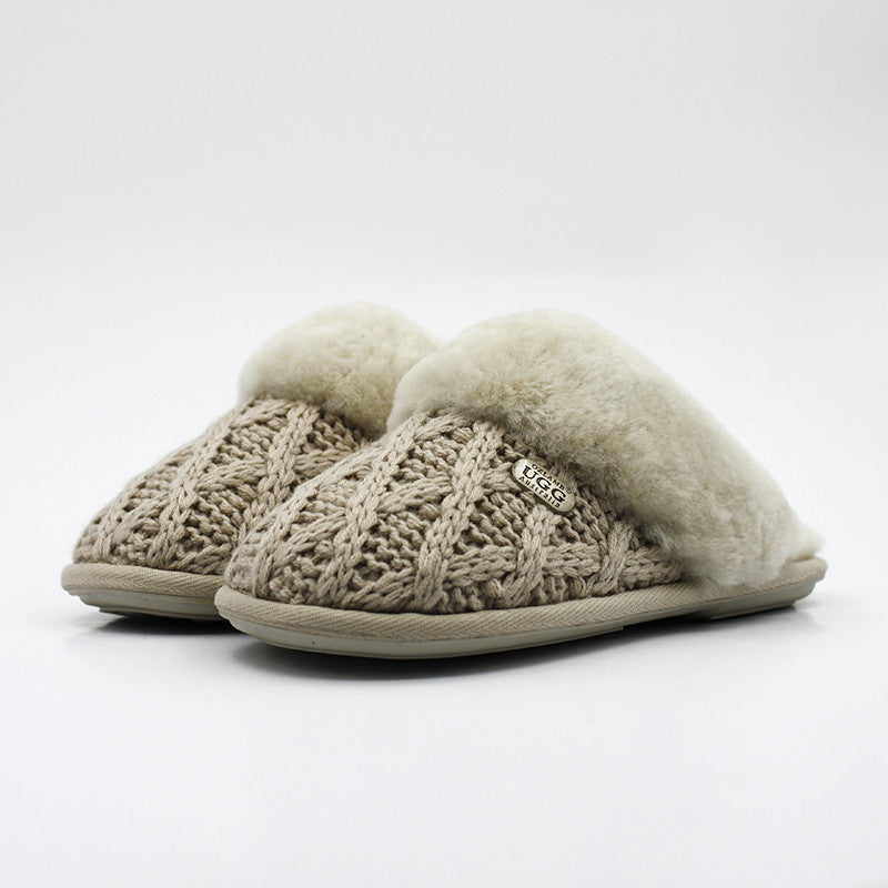 Luxury Diamond Knit Wool Scuff - Sand