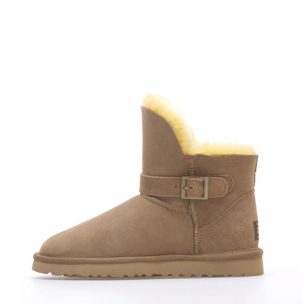 Ever Buckle Short Boots - Chestnut