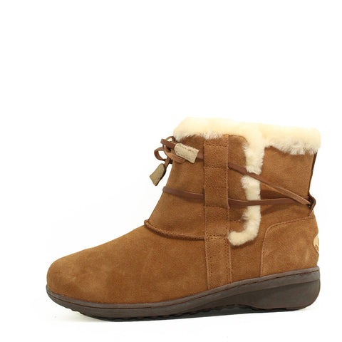 Lace Up Short Boots - Chestnut