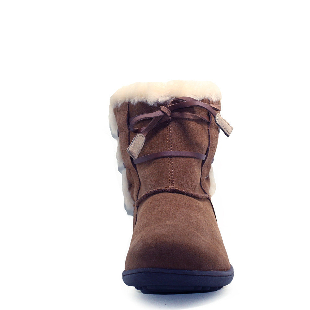 Lace Up Short Boots - Chocolate