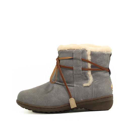Lace Up Short Boots - Grey