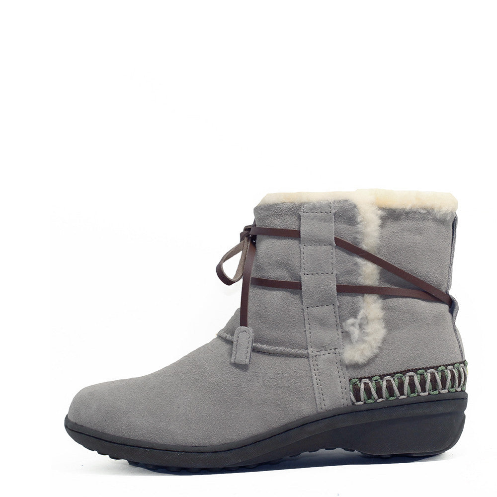 Lace Up Short Boots with Stitch - Grey